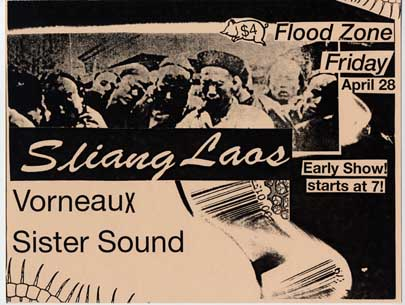 Sistersound with Vorneaux and Sliang Laos, at the Floodzone, April 28, 1995
